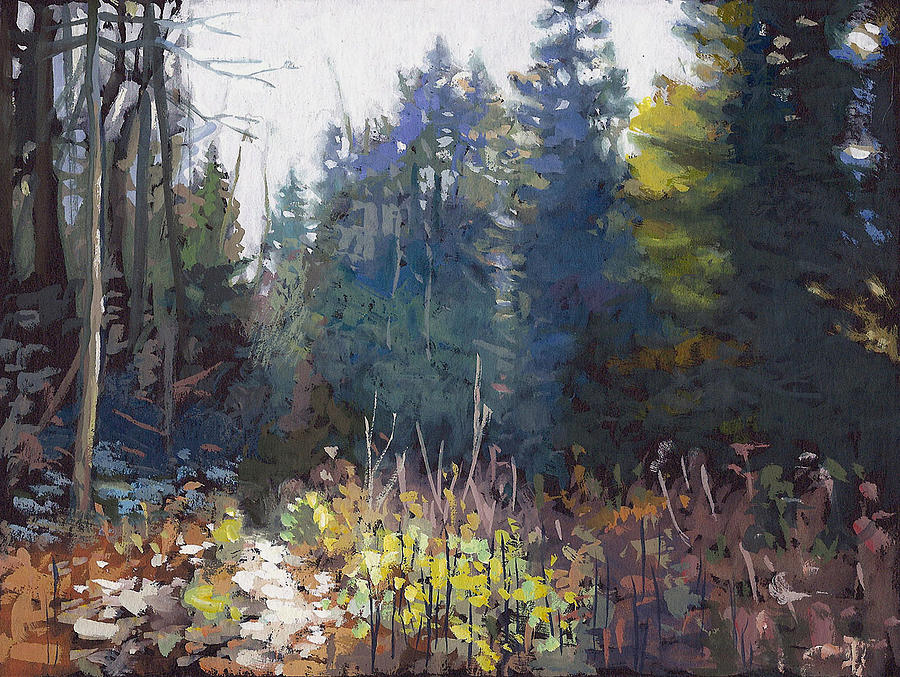 Landscape Painting - Hiles Deer Trail by Larry Seiler
