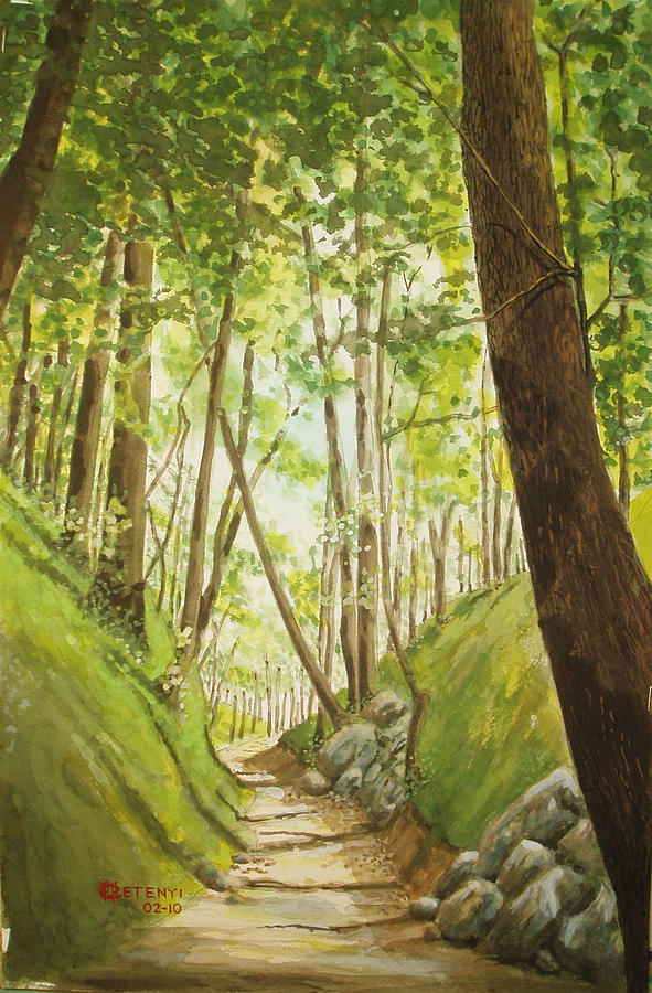 Hiking Painting - Hiling Path by Charles Hetenyi