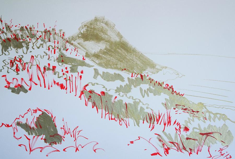 Hill Drawing - Hill At Worbarrow Bay Dorset by Mike Jory