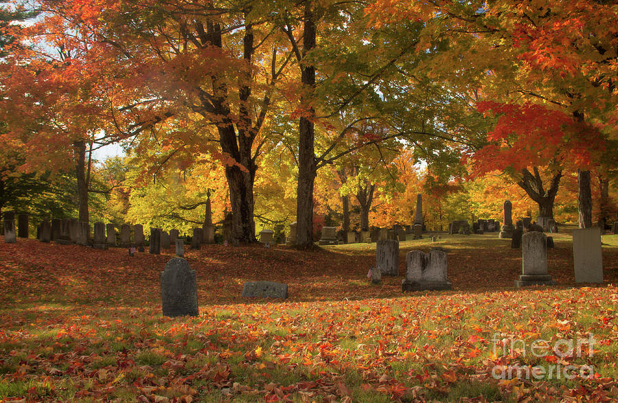 Fall In New England Photograph - Hill Cemetery by Diana Nault