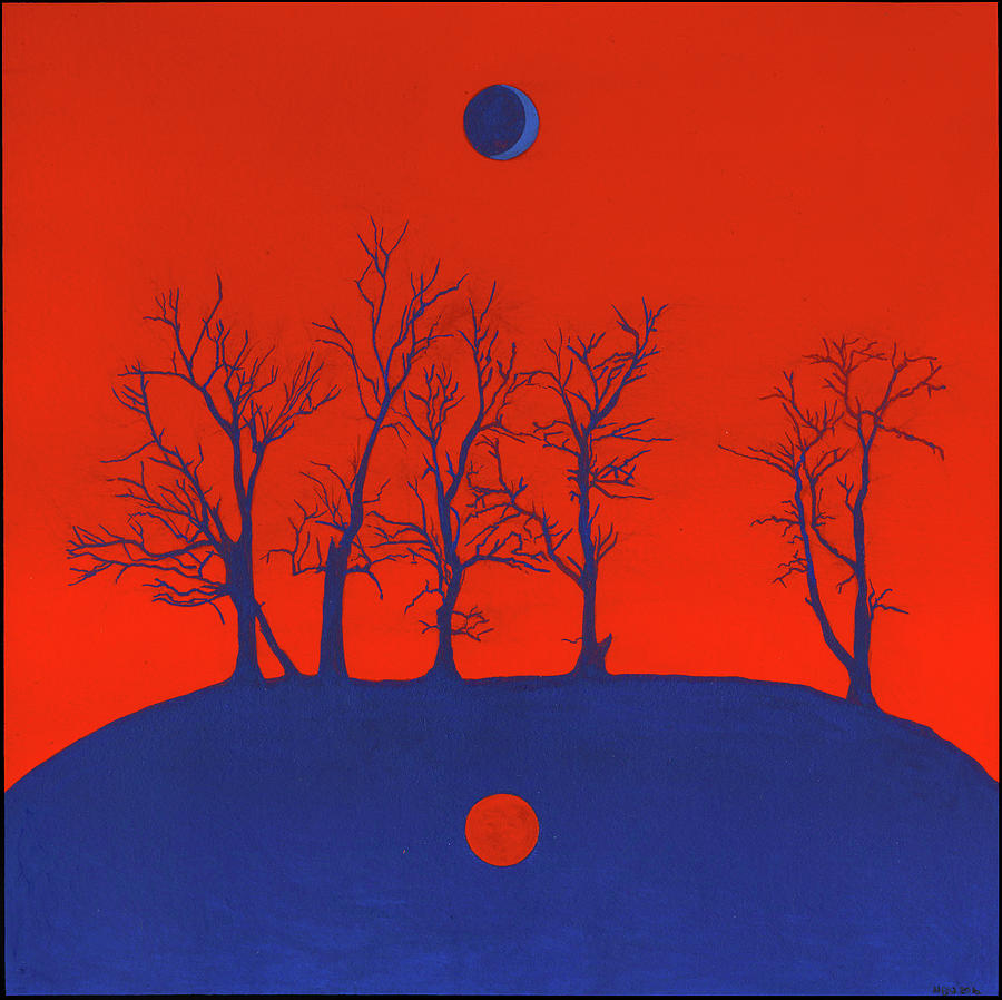 Shaman Painting - Hill, Trees, Sun and Moon by Nicholas Breeze Wood