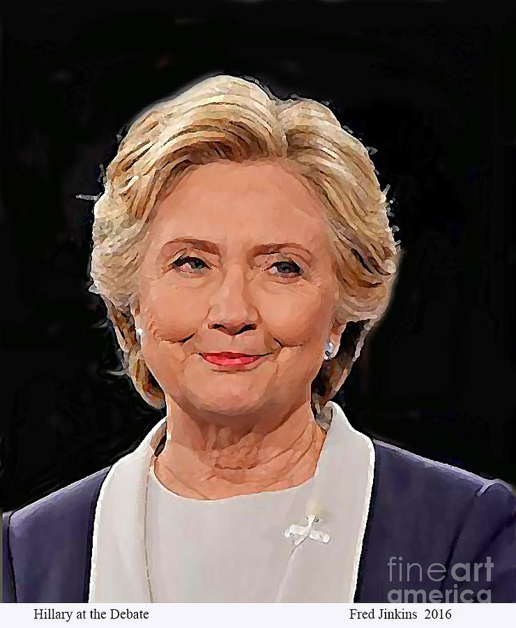 Hillary Painting - Hillary At The Debate by Fred Jinkins