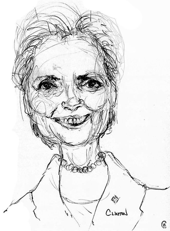 Well-known Hillary Clinton Drawing by Cameron Hampton PSA BO45