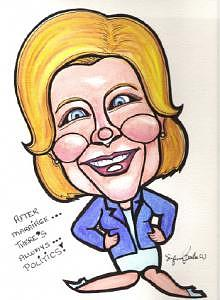 Hillary Drawing - Hillary Clinton Caricature by Suzanne Berton