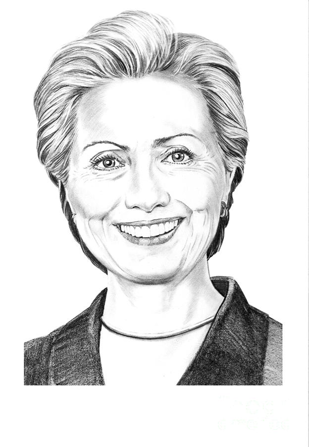 Pencil Drawing - Hillary Clinton by Murphy Elliott