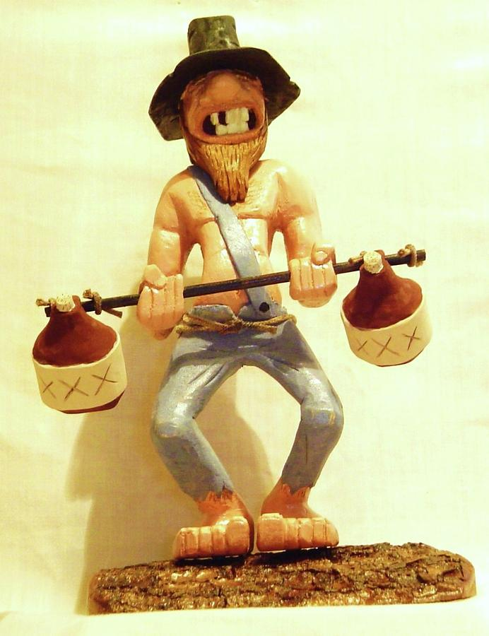 Woodcarving Sculpture - Hillbilly Weightlifter by Russell Ellingsworth