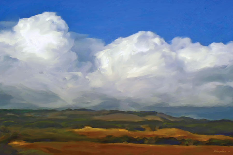 Landscape Painting - Hills And Clouds by Thomas  Hansen