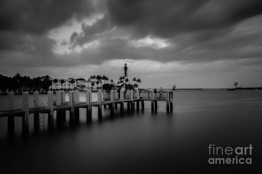 Hillsboro Lighthouse Across Pier Bw Photograph