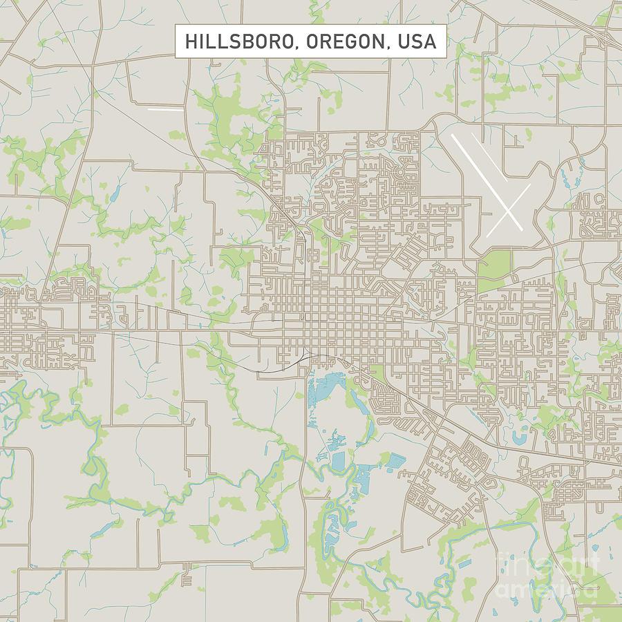 Hillsboro Oregon Us City Street Map Digital Art by Frank Ramspott