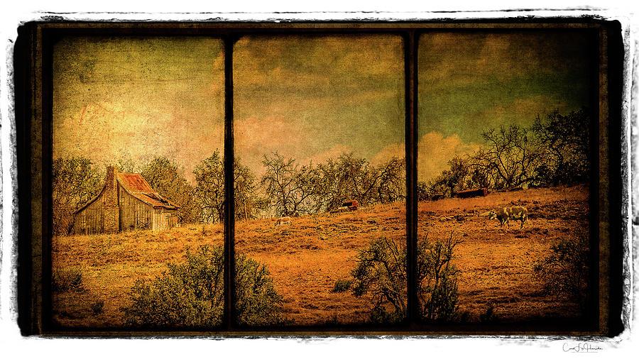 Farm Digital Art - Hillside Farm Scene Triptych by Carol Fox Henrichs