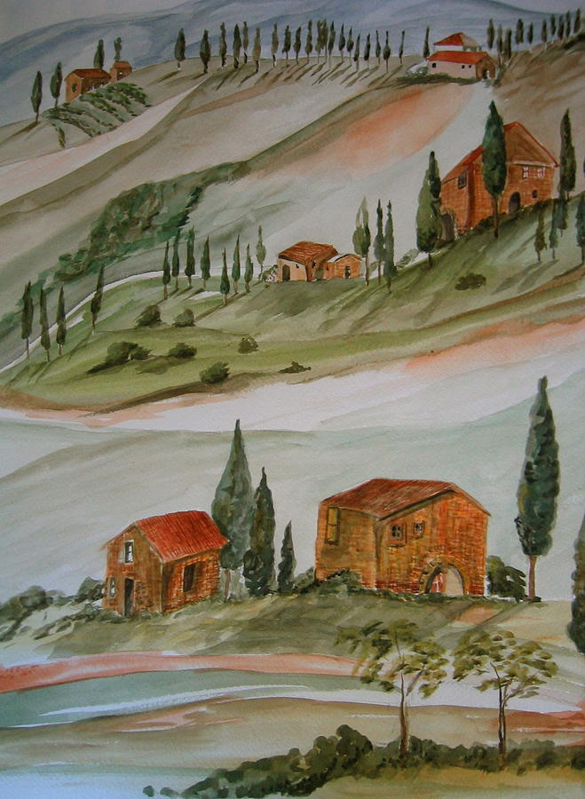 Landscape Painting - Hillside Italy by K Hoover