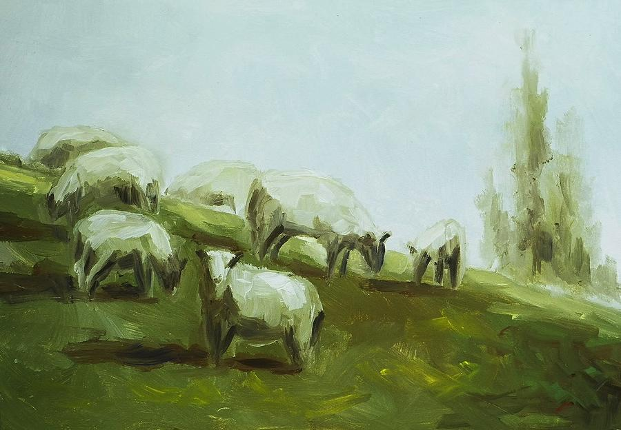 Sheep Painting - Hillside Sheep by Ruth Stromswold