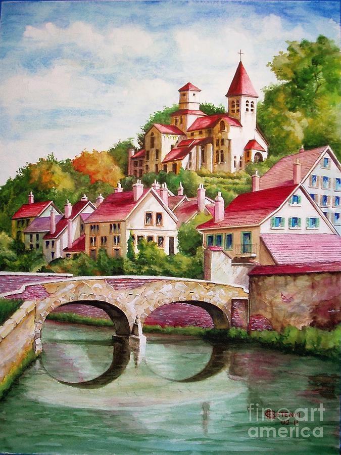 Landscape Painting - Hillside Village by Charles Hetenyi
