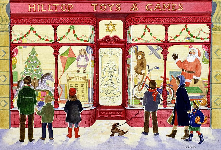 Christmas Painting - Hilltop Toys And Games by Lavinia Hamer