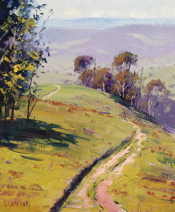 Rural Painting - Hilly Landscape Lithgow by Graham Gercken