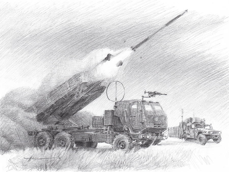 HIMARS pencil portrait Drawing by Mike Theuer