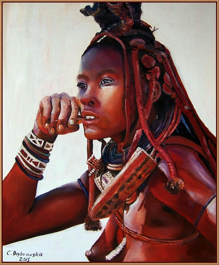 Oil Painting - Himba by Cecylia  Dabrowska