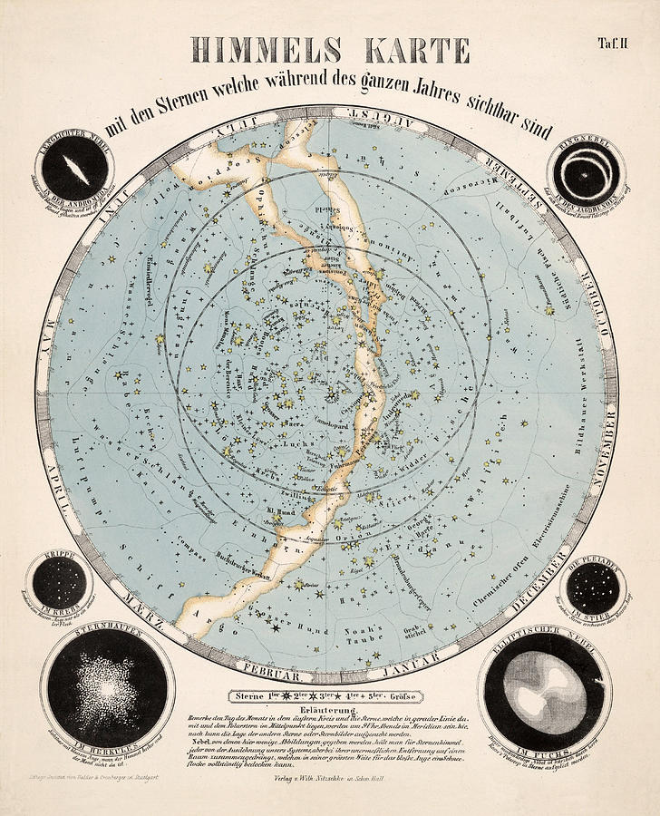 Himmels Karte - Map Of The Stars And Constellations - Months Of The Year - Map Of The Sky Drawing