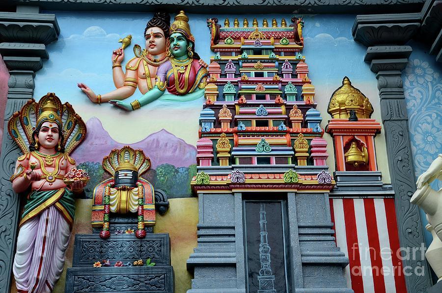 Temple Photograph - Hindu Deities On Wall Mural Of Sri Senpaga Vinayagar Tamil Temple Ceylon Rd Singapore by Imran Ahmed