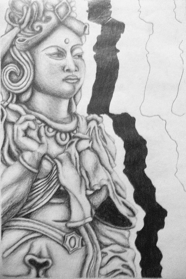 Hindu Drawing - Hindu Goddess by Ashley Warbritton