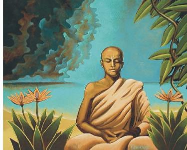 Hindu Monk Painting by Steven Donnini