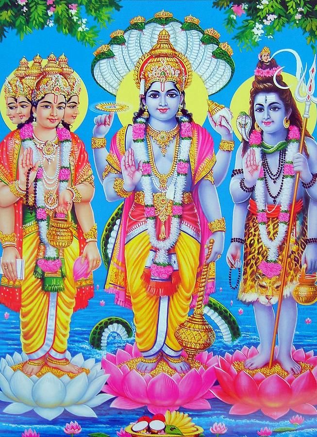 India Drawing - Hindu Trinity Brahma Vishnu Shiva by Magdalena Walulik
