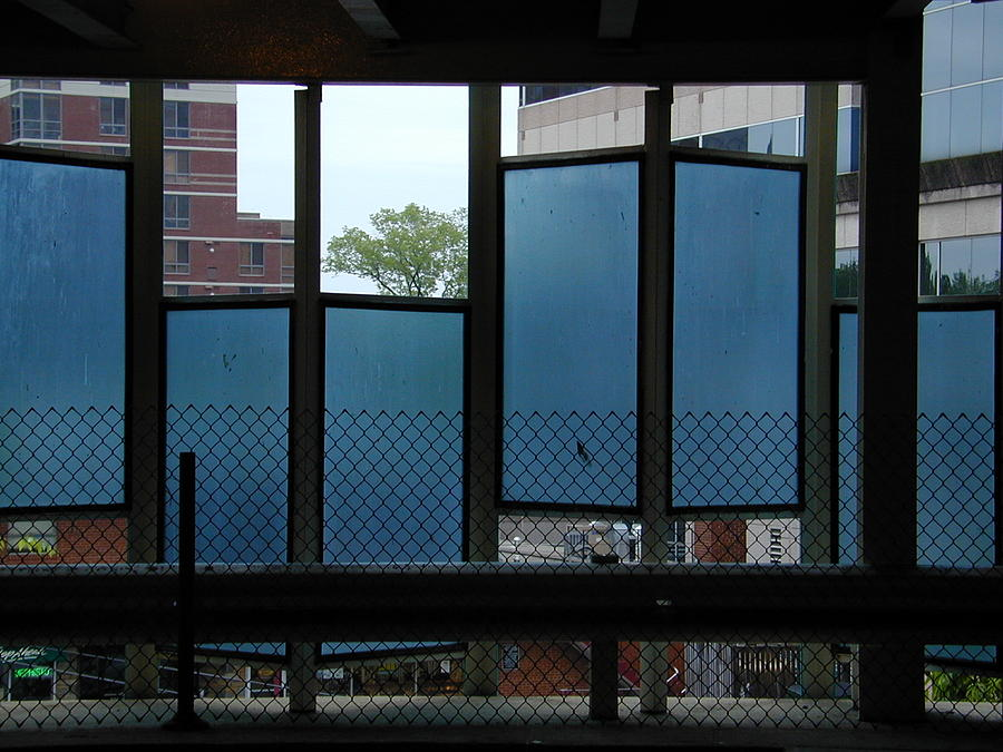 Urban Abstract Geometric Backlit Blue Photograph - Hiphop by Don Perino