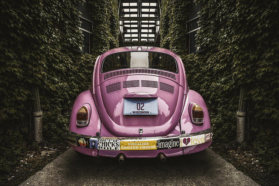 Vintage Car Photograph - Hippie Chick Love Bug by Scott Norris