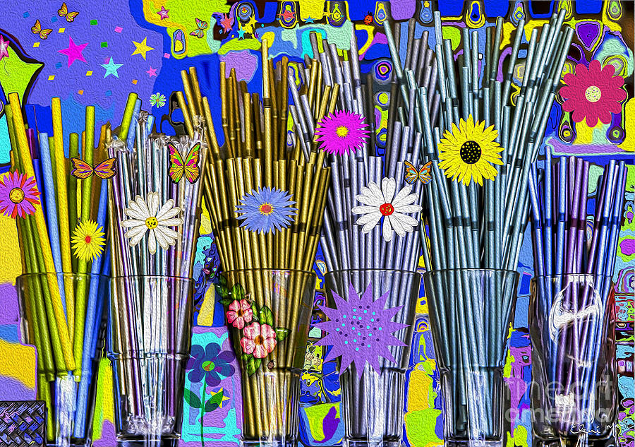 Background Digital Art - Hippie Hippie Straws by Eleni Mac Synodinos