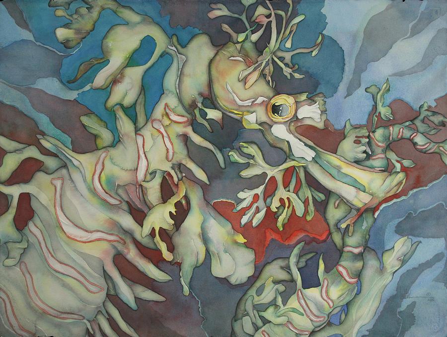 Ocean Painting - Hippocampe Blue by Liduine Bekman