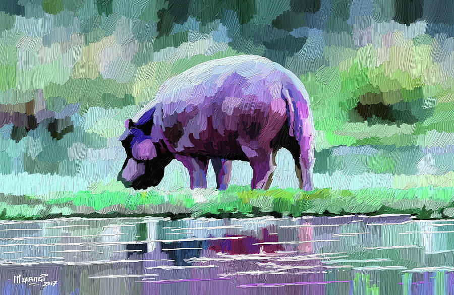 Wildlife Painting - Hippopotamus by Anthony Mwangi