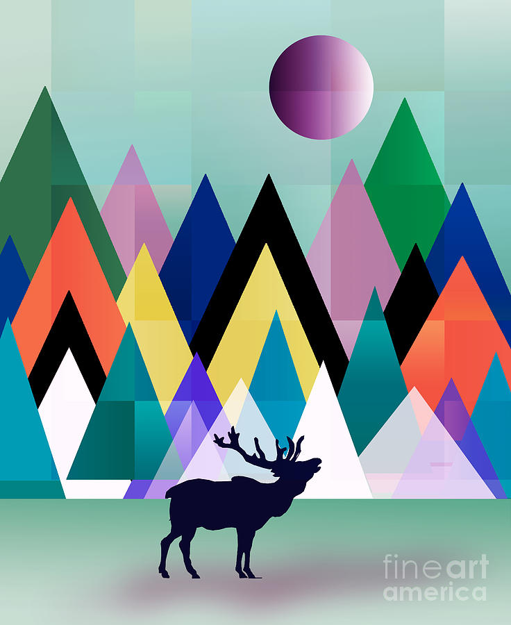 Deer Painting - Hipster 2 by Mark Ashkenazi