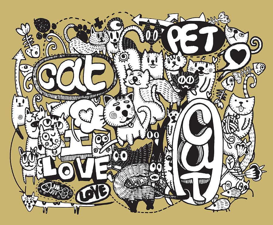 Hipster Cat Doodles Background Digital Art By Pakpong Pongatichat