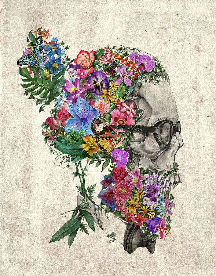 Hipster Floral Skull Painting by Bekim Art