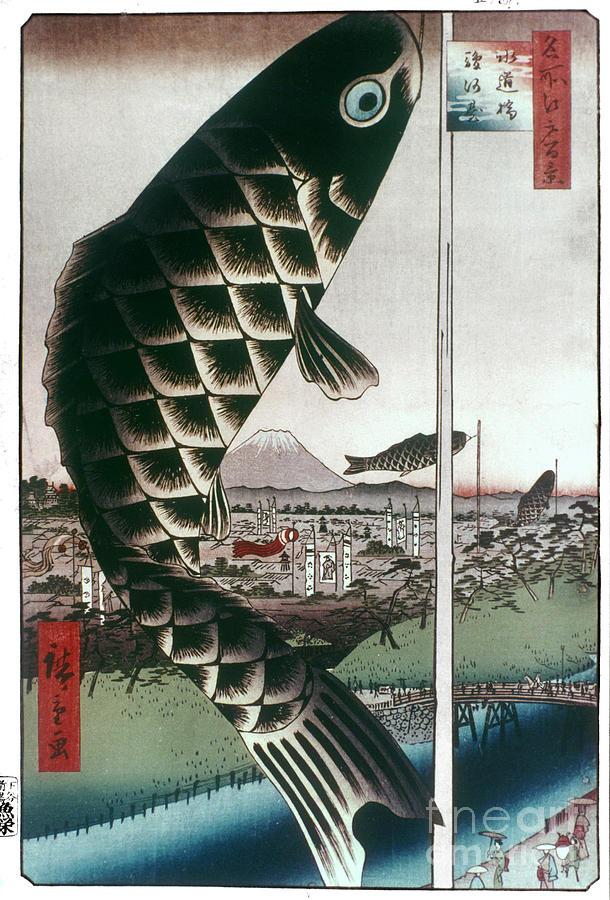 100 Famous Views Of Edo Photograph - Hiroshige: Kites, 1857 by Granger