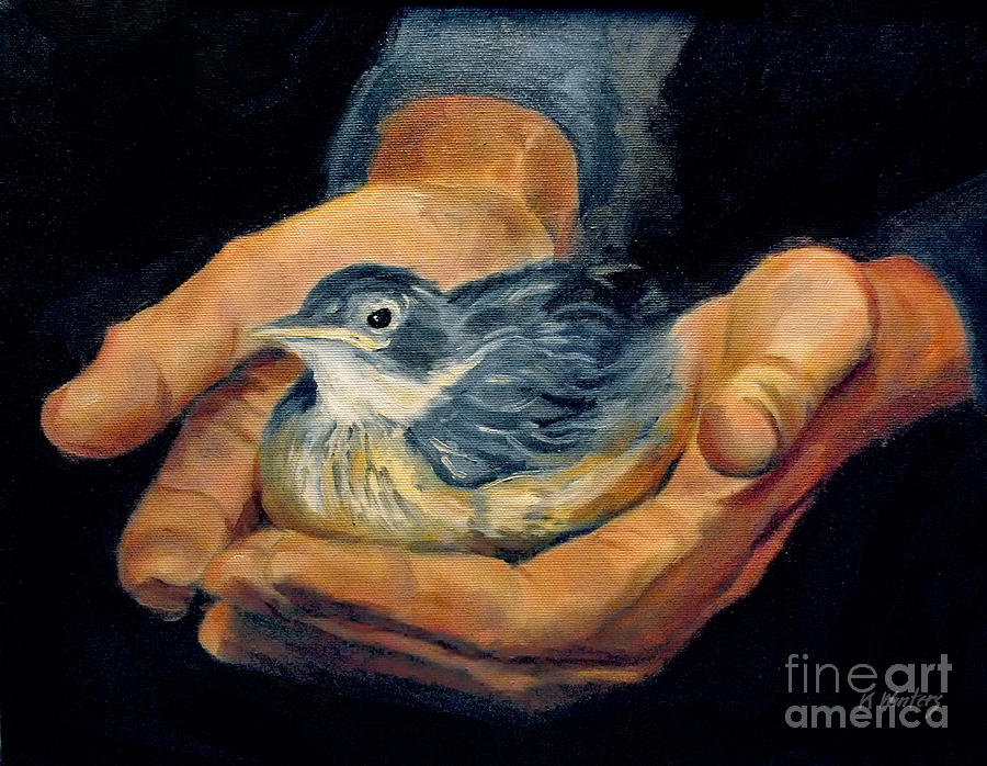 Hands Painting - His Eye Is On The Sparrow by Karen Winters