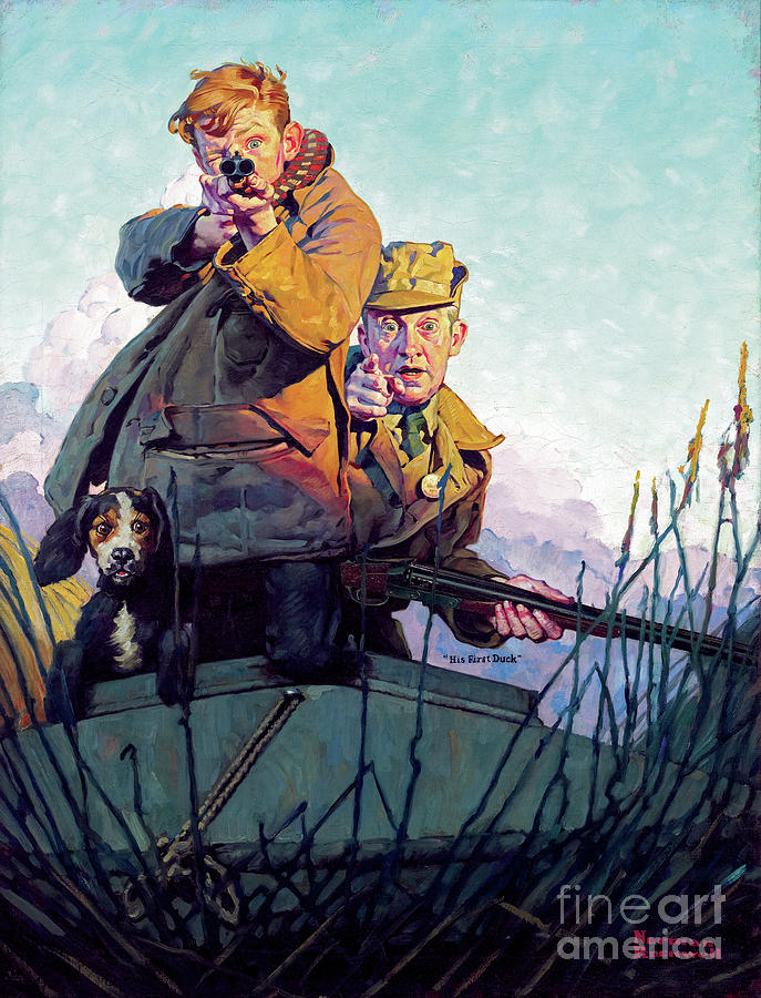 Rockwell Painting - His First Duck by Norman Rockwell