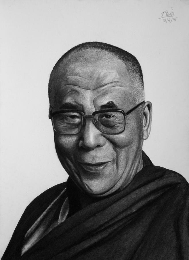 Dalai Lama Drawing - His Holiness The Dalai Lama by Vishvesh Tadsare