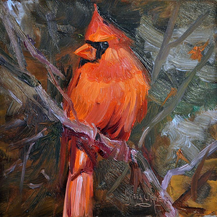 Cardinal Painting - His Majesties Splendor by Spencer Meagher