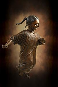 Girl With Pigtails Sculpture - Hispanic Girl by Tom White