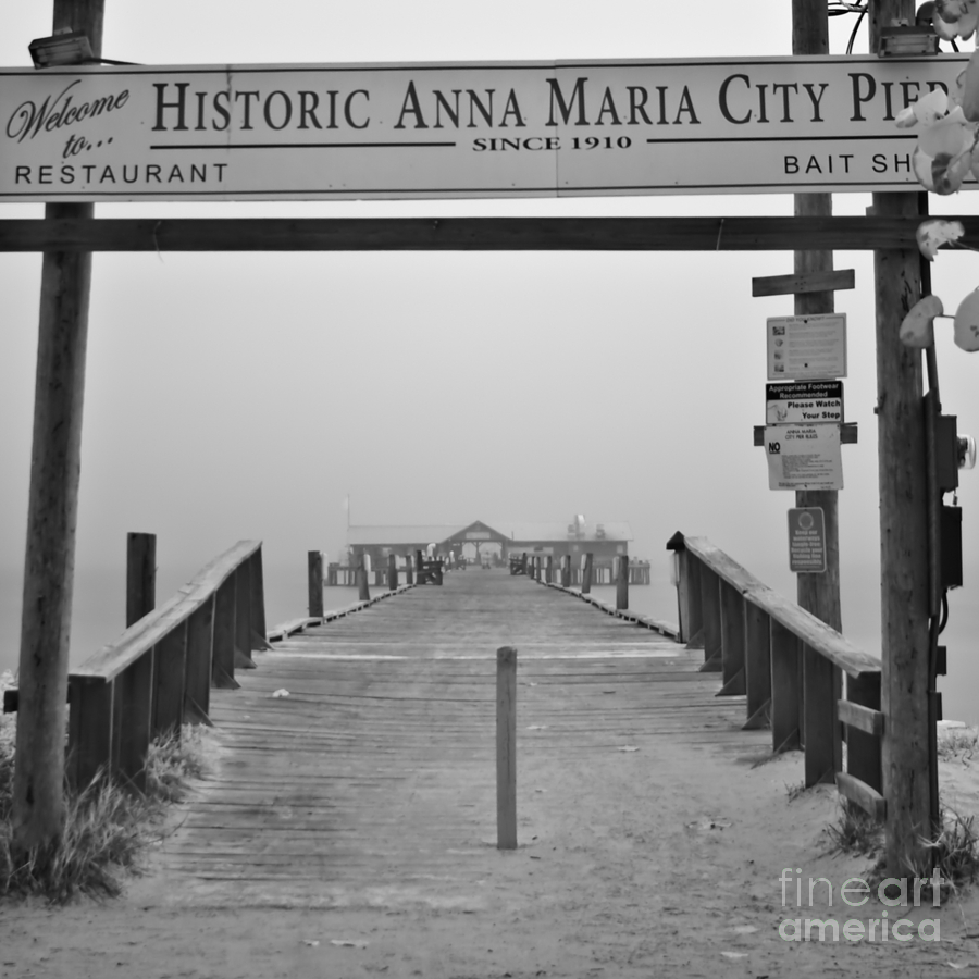 Anna Maria Island Photograph - Historic Anna Maria City Pier In Fog Infrared 52 by Rolf Bertram