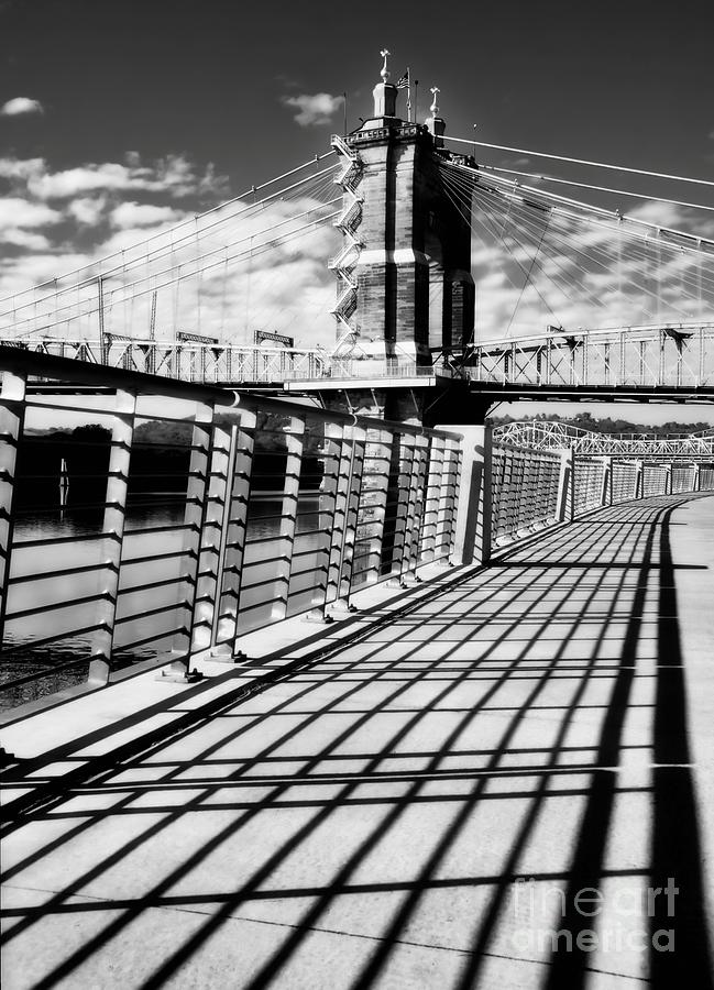 Historic Bridge In Cincinnati Black and White by Mel Steinhauer