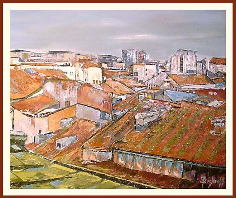 Cityscape Painting - Historic Centre Bucharest Romania by Luminita Feodoroff