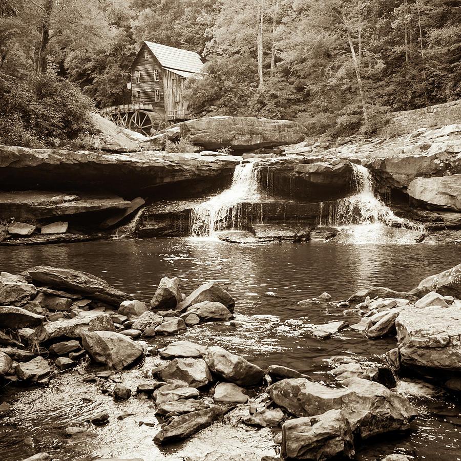 Historic Glade Creek Grist Mill Sepia Landscape - Square Format Photograph