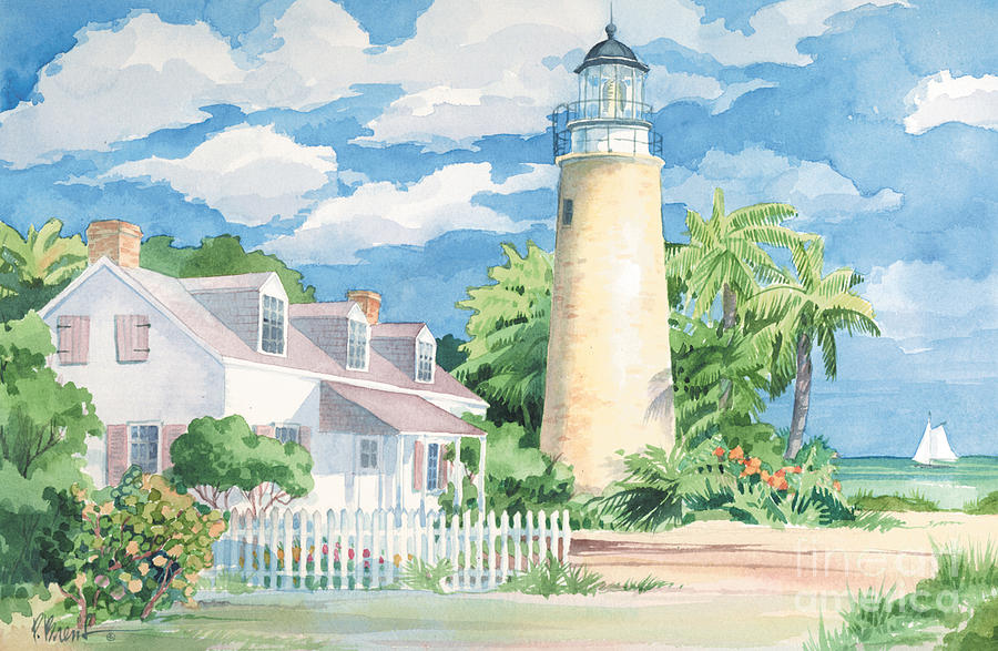 Lighthouse Painting - Historic Key West Lighthouse by Paul Brent