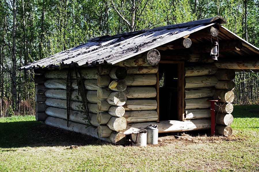 Historic Photograph - Historic Log Trappers Cabin by Robert Braley