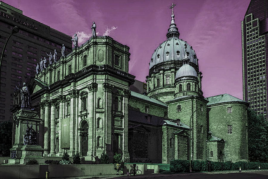 Historic Montreal Cathedral - Marie Reine Du Monde Canada by Peter Potter