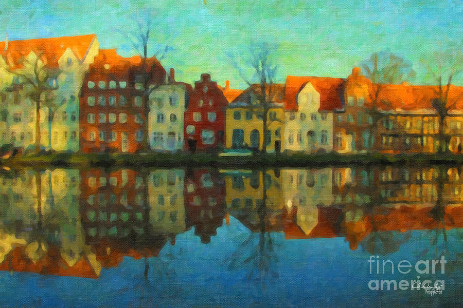 Lubeck Painting - Historic Old Town Lubeck by Chris Armytage