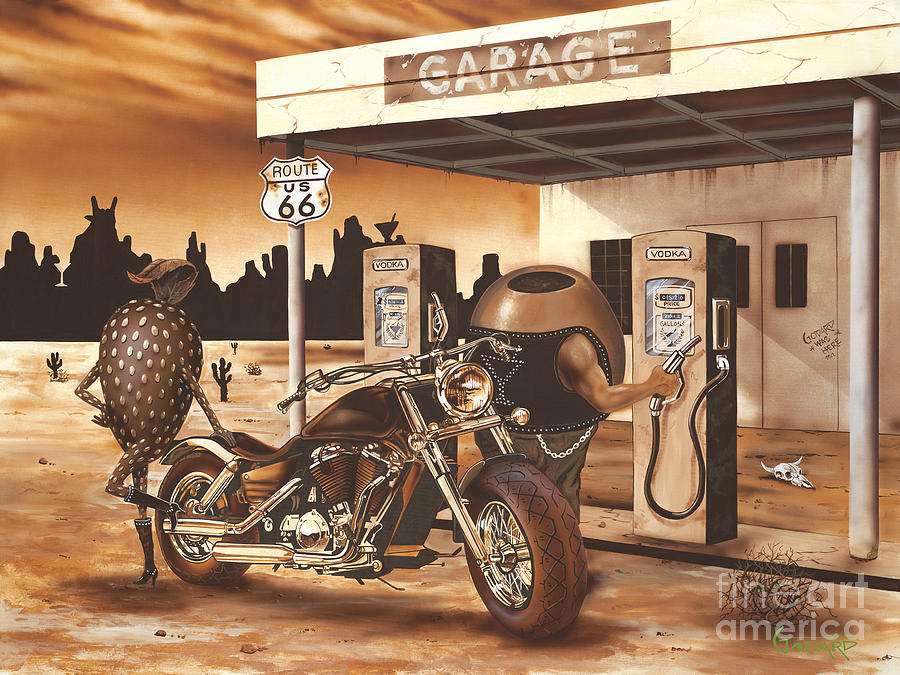 Biker Painting - Historic Route 66 by Michael Godard