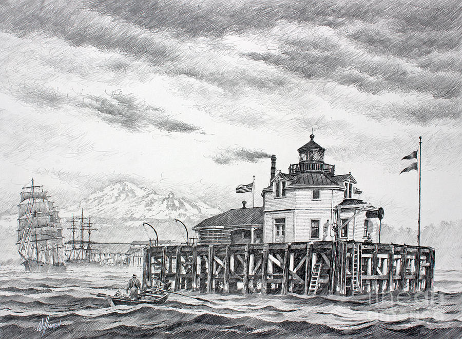 Historic Semiahmoo Lighthouse  Drawing by James Williamson